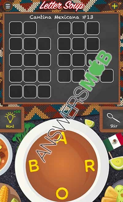 Letter Soup Cafe Cantina Mexicana Level 13 Answer