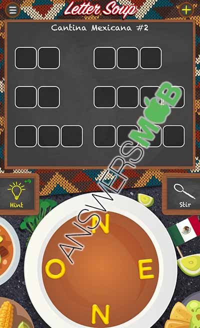 Letter Soup Cafe Cantina Mexicana Level 2 Answer