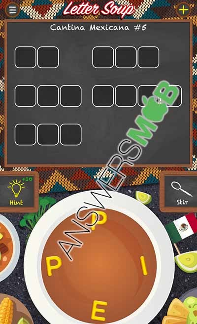Letter Soup Cafe Cantina Mexicana Level 5 Answer