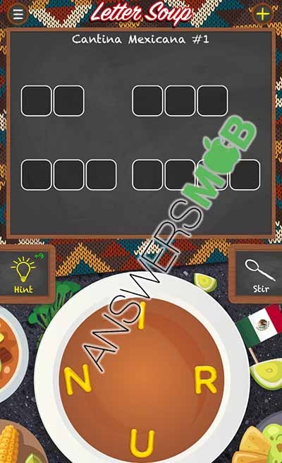 Letter Soup Cafe Cantina Mexicana Level 1 Answer