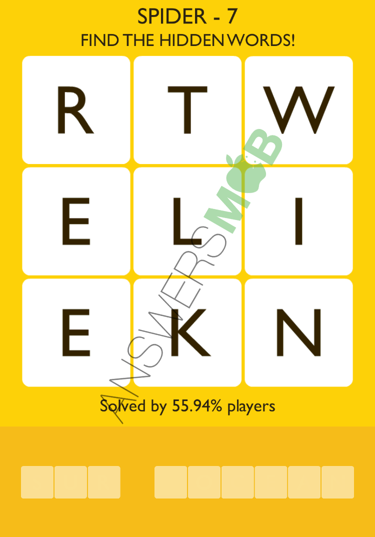 Answer for word trek rtweliekn fungamesarena here you will find all the answers for word trek level spider with the letters rtweliekn since the game displays a random level answer dont forget to aljukfo Gallery
