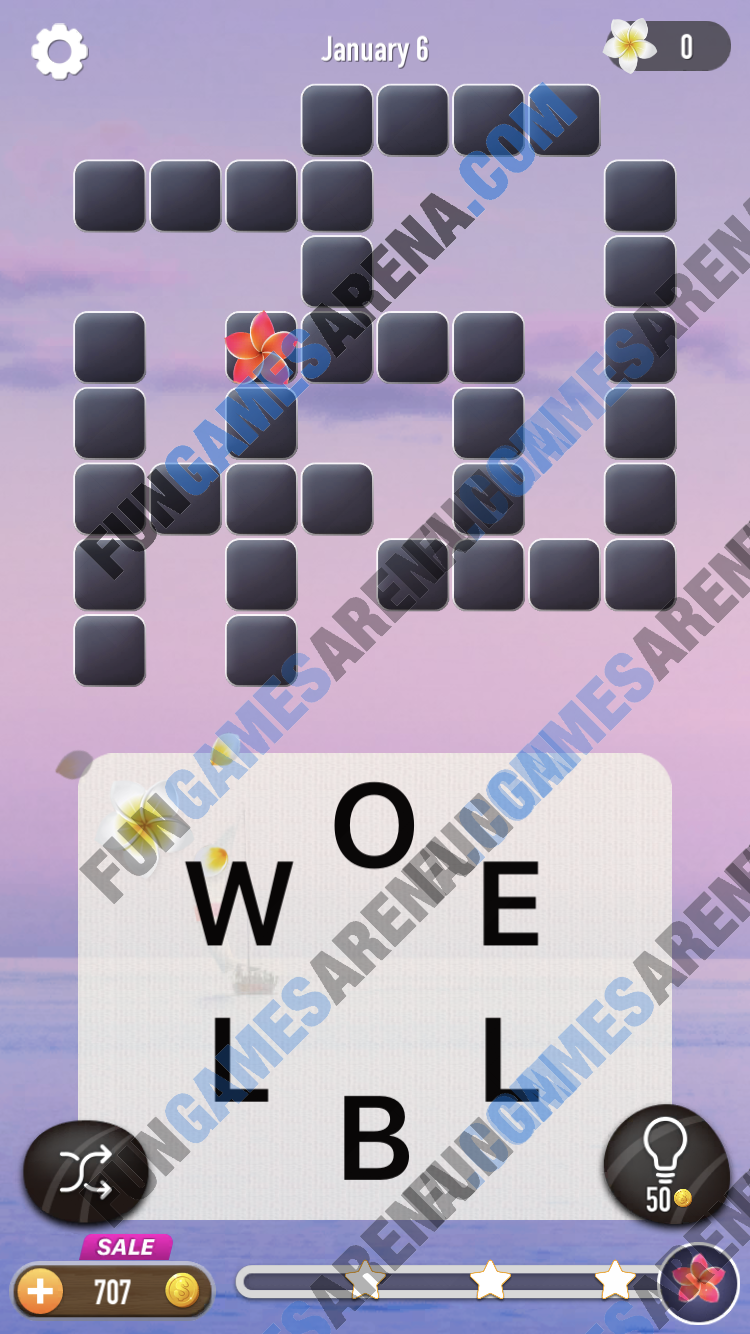Word Crossy Daily Challenge January 06, 2018 Answers